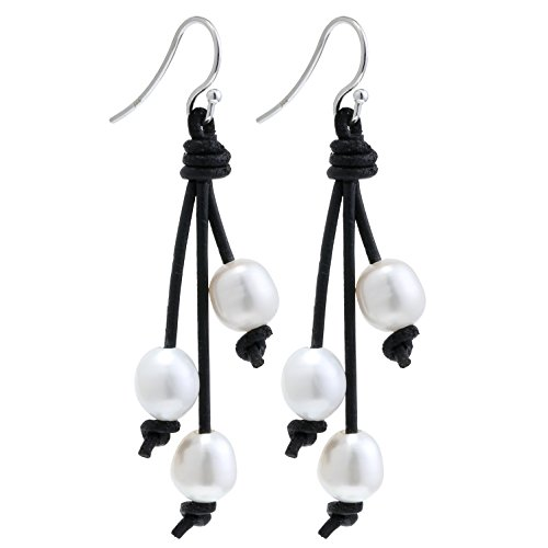 Rice Pearl Hook Earrings (Yunhan White Pearl Dangle Earrings on Brown Leather for Girls 2.56'' -AA Quality)
