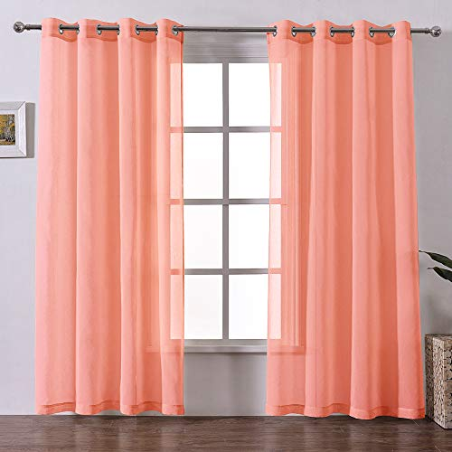 DWCN Sheer Curtains Linen Look Coral Grommet Curtain for Living Room Set of 2 Panels, 52x90 Inch Long ()
