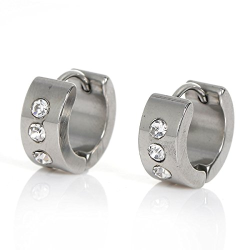 Sexy Sparkles Titanium Steel Mens Womens Hoop Earrings Piercings Huggie Hypoallergenic (B:One Pairs - Sparkle Titanium