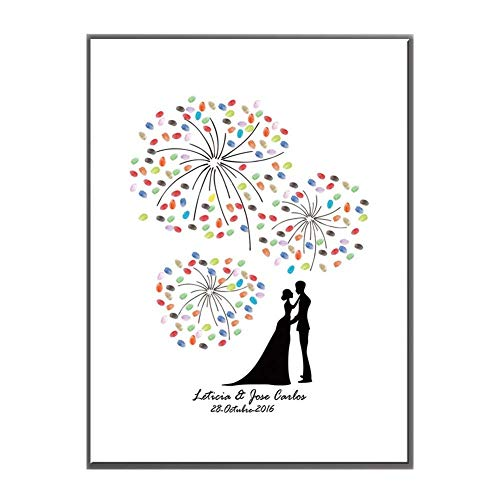 Wedding Creative Fingerprint Signature Book, DIY Guest Signature Blessing Waterproof Canvas Material Wedding Blessing Wall ()