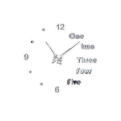 English Digital Fashion Mirror Wall Sticker Clock Acrylic Wall Clock Decoration Clock Silver