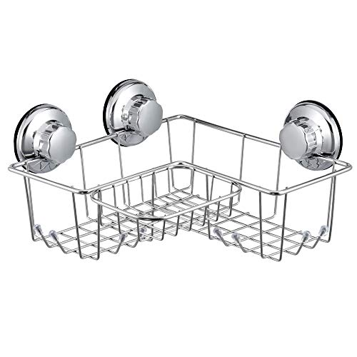 SANNO Suction Corner Shower Caddy with Soap Dish, Corner Bath Shelf Storage Combo Organizer with 8 Hooks, No Damage Suction Cup,Rustproof Wire Basket for Kitchen & Bathroom Accessories