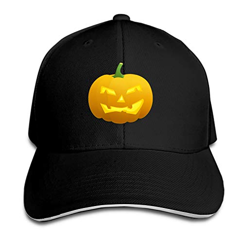 Halloween Carved Lantern Face Pumpkin Gourd Snapback Cap Flat Bill Hats Adjustable Plain Blank Caps for Men/Women ()