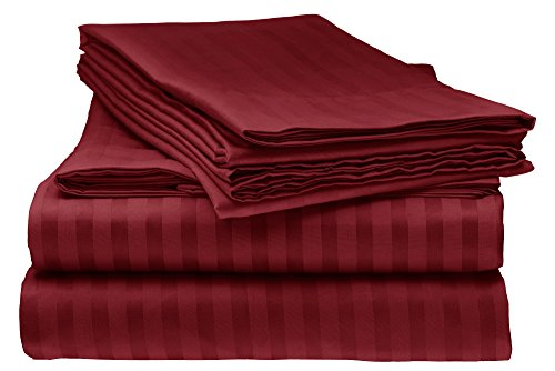 ITALIAN Prestige Collection 4PC QUEEN Striped Sheet Set, BURGUNDY