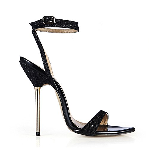 Multa Acero El Mostrar Con Shoes De Femenina Black heel Alto Verano Flash Sandalias Simple XxwC60wU