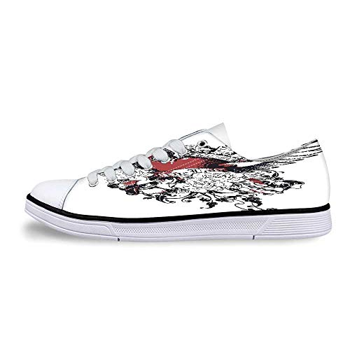 Modern Soft Low Top Canvas Shoes,Tattoo Style Heart Crown with Wings Artictic Love Valentines Gothic Romance Graphic for Women,US 5 ()
