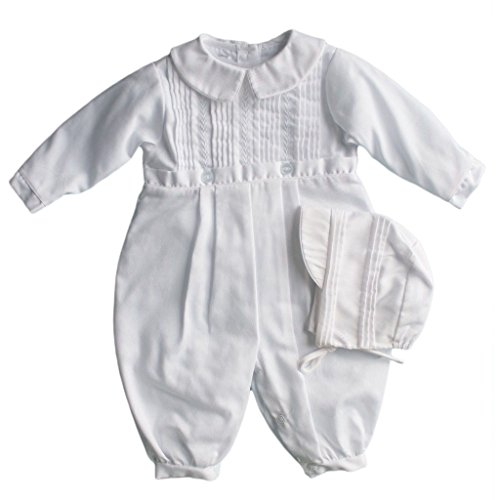Hand-Embroidered Boy's Christening Longall, 3M - Tucks and Feather Stitching, White - Petit Ami