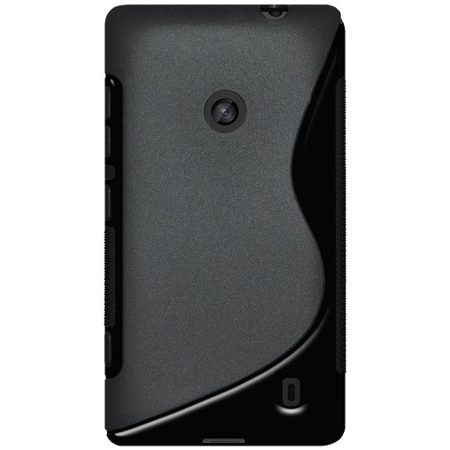 Amzer AMZ95686 Dual Tone TPU Hybrid Skin Fit Case Cover for Nokia Lumia 520 - 1 Pack - Retail Packaging - Black