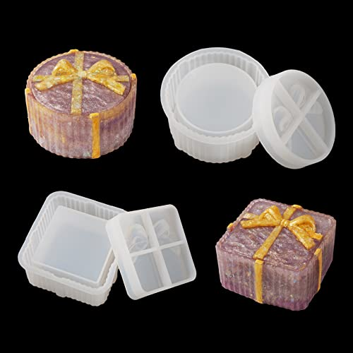 LET'S RESIN Gift Boxes Resin Molds, 2PCS Jewerly Boxes Molds Includ Square Shape Silicone Resin Molds, Round Epoxy Molds