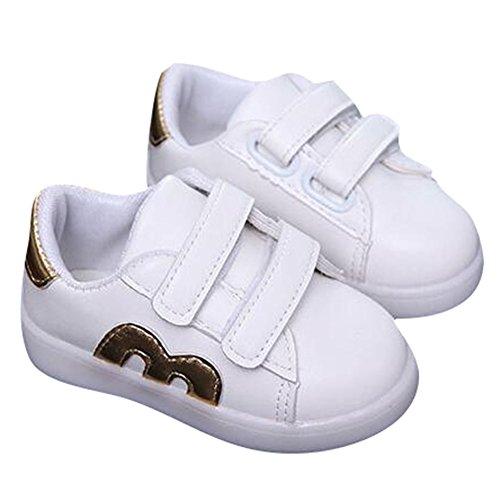 hibote Kleinkind Jungen Mädchen Aufleuchten Schuhe LED Turnschuh Gold