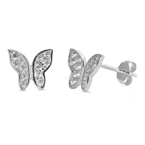 Sterling Silver Cubic Zirconia Butterfly Post Stud Earrings 9mm