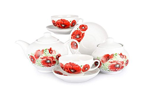 Poppies 14 pc. Tea Set for 6 Persons Dulevo Porcelain