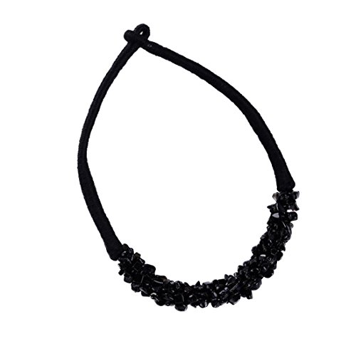 Fashion Valentine's Day Gift Retro Bohemian Ethnic Style Multicolour Handmade Crushed Stone Necklace (Black Glove With Heart And Stones)