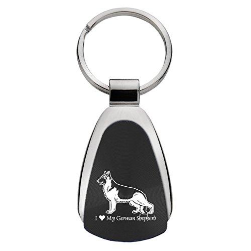 Teardrop Keychain-I love my German Shepherd-Black