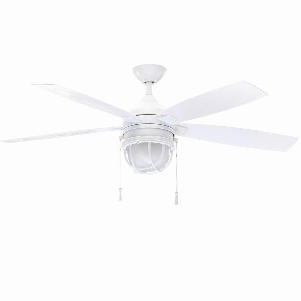 Hampton Bay Seaport 52 In. Indoor outdoor White Ceiling Fan