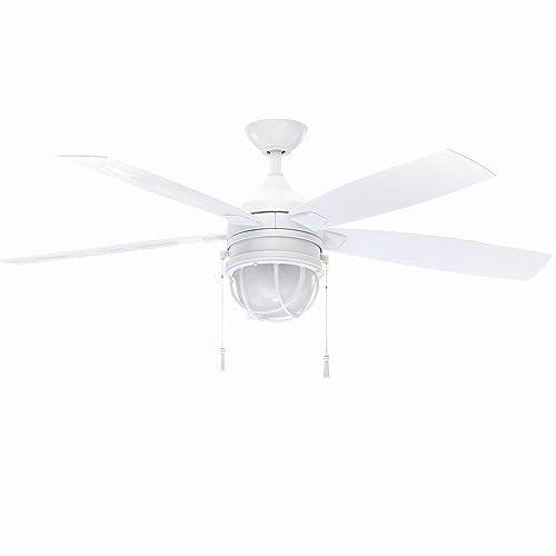 Hampton Bay Seaport 52 In. Indoor outdoor White Ceiling Fan