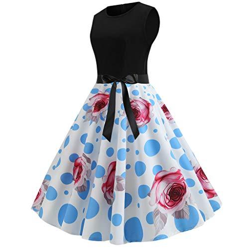 [해외]여성용 빈티지 민소매 프린트 캐 쥬얼 이브닝 파티 프롬 스윙 / Women`s Vintage Sleeveless Print Casual Evening Party Prom Swing