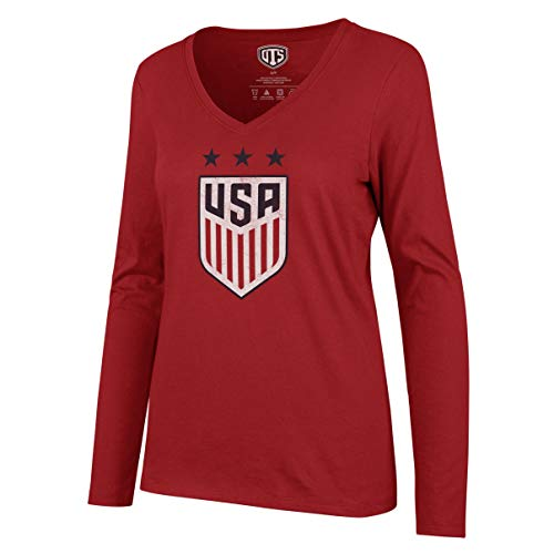 U.S. Soccer Women's National Team Women's OTS Rival Long Sleeve Tee, Distressed Star Logo Red, - Classic Soccer Shirts