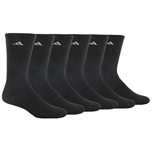 Calcetín atlético para hombre adidas, negro /aluminio 2, paquete de 6, se adapta al tamaño de zapato 6-12