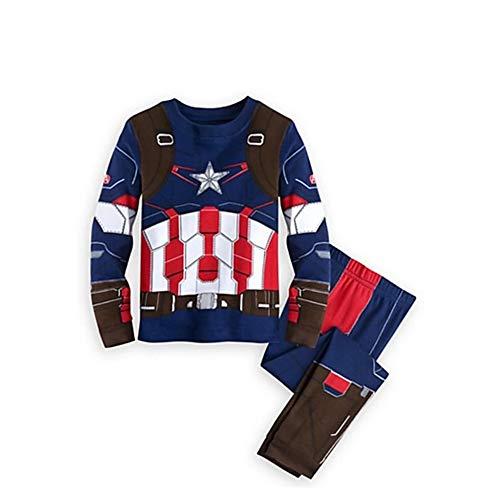 Pajama Avengers Superhero Iron Man Thor Hulk Captain America Spiderman Pajamas for Boys (Capt America, 4T) ()