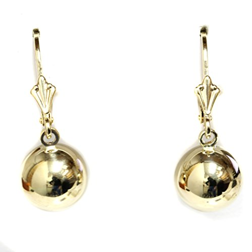 14k Gold Polished Large 9.5mm Round Ball Drop Dangle Earrings with Leverback - (yellow-gold) ()