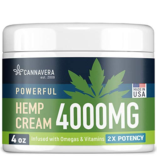 CANNAVERA Hemp Cream for Pain Relief - 4000 MG American Hemp Extract - Natural Treatment with Emu Oil, Aloe Vera, MSM & Menthol for Muscle, Joint, Sciatic & Back Pain - Made in USA - Omega 3-6-9