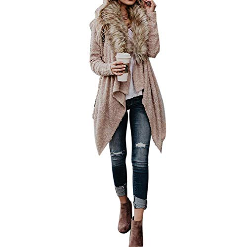 Women Jackets Autumn Winter Faux Fur Collar Cardigan Plush Trench Coat Jacket