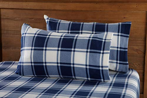 Great Bay Home Super Soft Extra Plush Plaid Polar Fleece Sheet Set. Cozy, Warm, Durable, Smooth, Breathable Winter Sheets with Plaid Pattern. Dara Collection By Brand. (Queen, Navy)