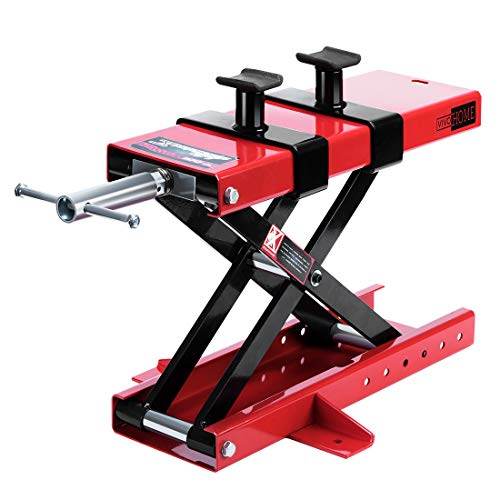 VIVOHOME Steel Motorcycle ATV Scissor Lift Jack Crank Hoist Stand with Safety Pins 1100Lb