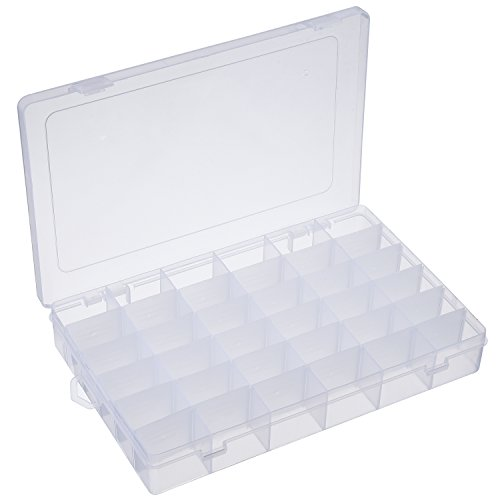 Outus 2 Pack 36 Grids Jewelry Dividers Box Organizer Adjustable Clear Plastic Bead Case Storage Container