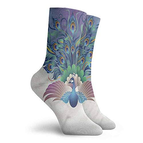Women's Novelty Peacock Majestic Bird Tail Design Hiking Walking Socks