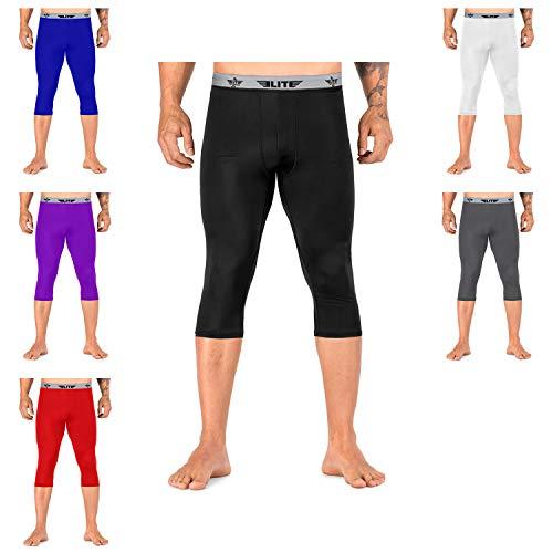Elite Sports New Item 3/4 Compression Tights, Spat Pants (Black, Medium)]()