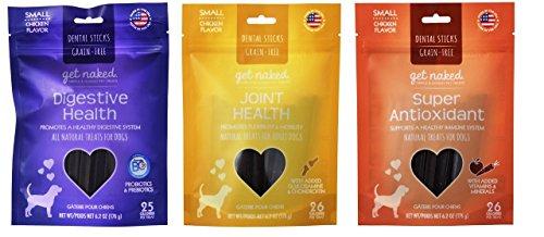 N-Bone Get Naked Small Chicken Flavor Grain-Free Dental Sticks 3 Formula Variety Bundle: (1) Digestive Health, (1) Joint Health, and (1) Super Anti-Oxidant, 6.2 Oz Ea (3 ()