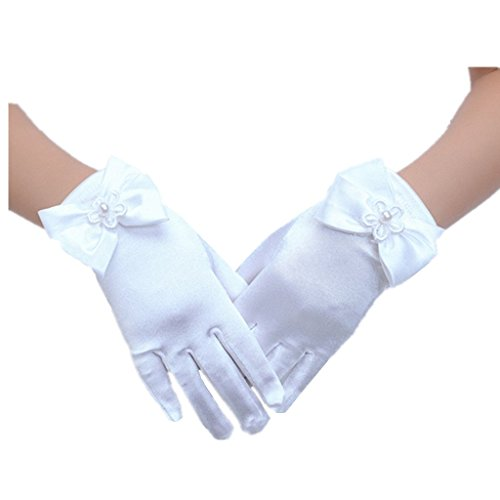 DreamHigh Baby Girl's Stretch Satin Dress Gloves (White),One size
