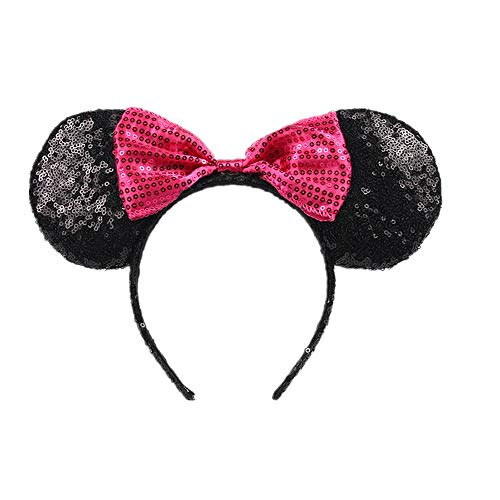 Mouse Ears Sequin Ears Headbands Butterfly Glitter Hairband (Shiny black rose) ()