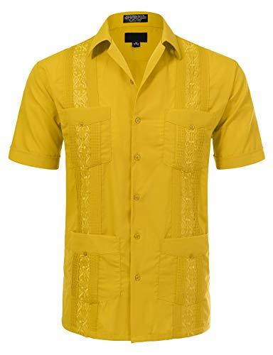 JD Apparel Men's Short Sleeve Cuban Guayabera Shirts18-18.5N XX-Large Light Yellow