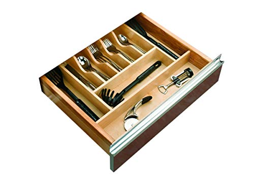 Rev-A-Shelf Tall Wood Cutlery Tray Insert, Large, Natural