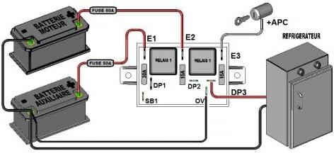 DESAC 12,7V SEPARADOR 2 BAT 12V 300Ah 70A ACOPL 13,5V 3 salidas protegidas SCHEIBER 38.12003.00