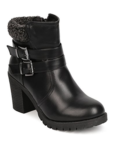 Nature Breeze Women Leatherette Shearling Buckled Chunky Heel Bootie FE18 - Black (Size: 8.5)