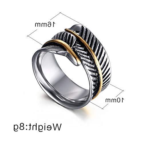 Campton Hot Feather Design Rare Men's Size 7-12 Band Stainless Steel Wedding Rings Gift | Model RNG - 1027 | 8