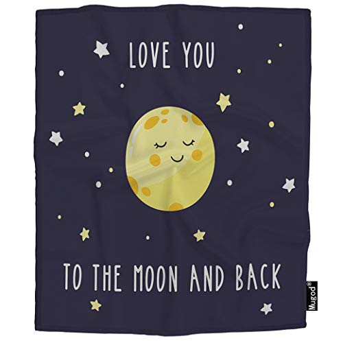 (Mugod Night Sky Blanket Cute Cartoon Moon Inscription Love You to The Moon and Back Fuzzy Soft Cozy Warm Flannel Throw Blankets Decorative for Boys Girls Toddler Baby Dog Cat)