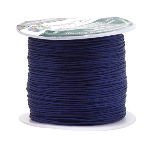 - Mandala Crafts 0.5mm 109 Yards Jewelry Making Crafting Beading Macramé Waxed Cotton Cord Thread (Navy Blue)