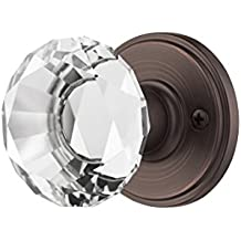 Decor Living, AMG and Enchante Accessories Diamond Crystal Door Knobs, Passage Function for Hall and Closet, Venus Collection, DK06R BRZ, Venetian Bronze
