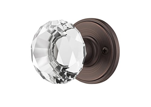 Decor Living, AMG and Enchante Accessories, Diamond Crystal Door Knobs with Lock, Privacy Function for Bed and Bath, Venus Collection, Venetian - Knob Door Office Function Set
