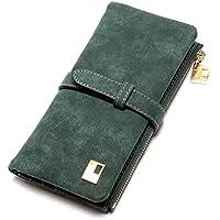 Elios Women's Nubuck Leather Long 2 Fold Clutch Wallet (Green)