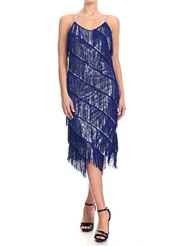 Anna-Kaci Womens Fringe Sequin Strap Backless 1920s Flapper Party Mini Dress, Navy&Silver, X-Large -