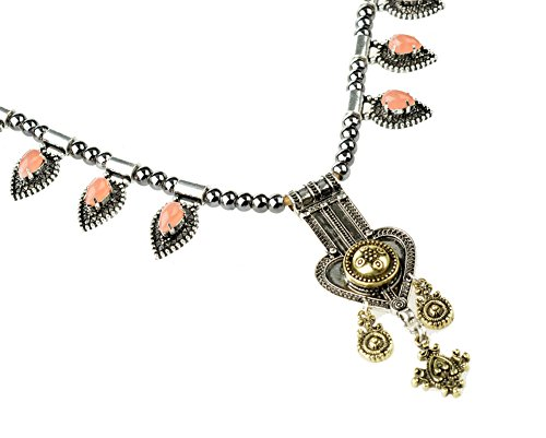 Btime Women Retro Green Resin Love-Shape Pendant Necklace(orange)