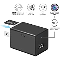 Hidden Spy Camera Wall Charger 1080P Wifi HD Camera with 32GB External SD Card for IOS iPhone Android Mobile APP Remote View
