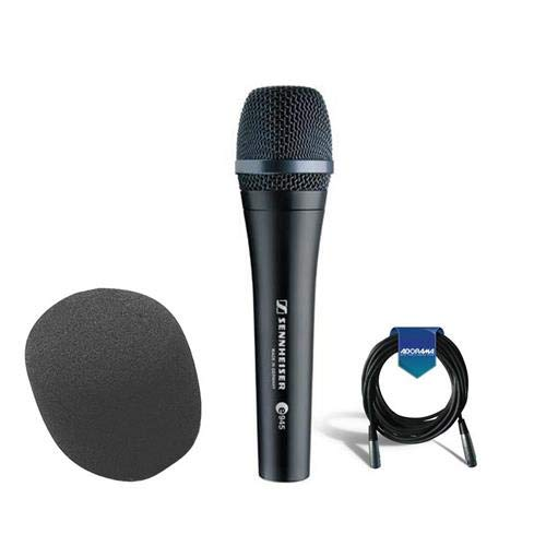 Sennheiser e 945 Wired Super-cardioid Dynamic Handheld Vocal Microphone with Clip - Bundle With 20' Heavy Duty 7mm Rubber XLR Microphone Cable, On-Stage ASWS58 Foam Windscreen