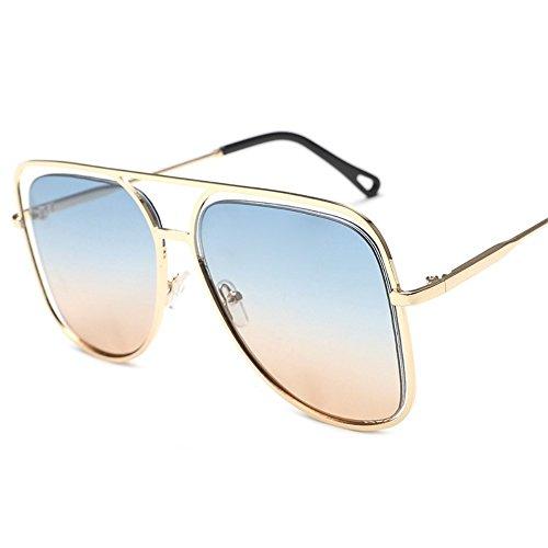 sol gran ahuecadas sol Marco gafas sol y coloridas Gafas Azul Con de sol individuales de Doradas metálicas 6 oceánico cuadrado color de Gafas gafas coloridas de Shop Tabletas YqU8xaF